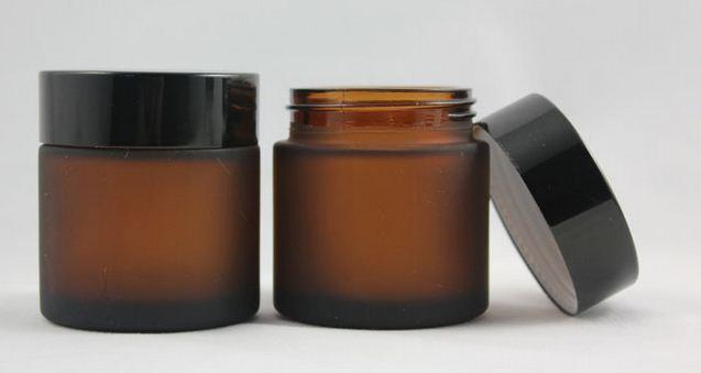 50 unids/lote Alta calidad 50g esmerilado + tarro de crema marrón, tarro cosmético, tarro de cristal o un recipiente de crema, crema para los ojos tarro