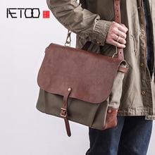 AETOO vintage canvas handbag American castrated cowhide with retro postman male crossbody Bag