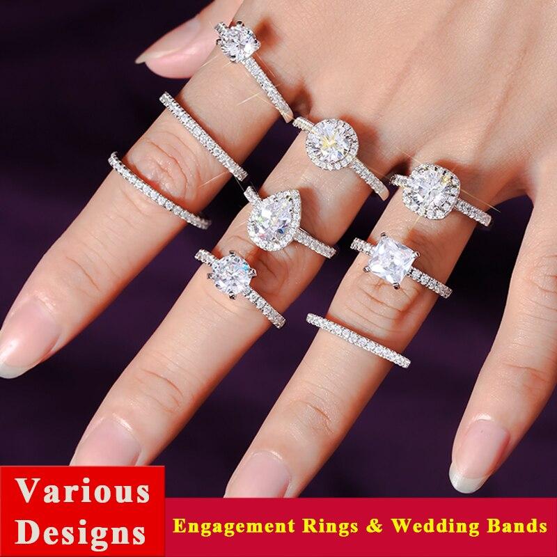 Exquis 2 carat or rose solitaire anneaux de mariage mossanite bagues de fiançailles pour femmes empilable poire cut anneau ensemble de bijoux