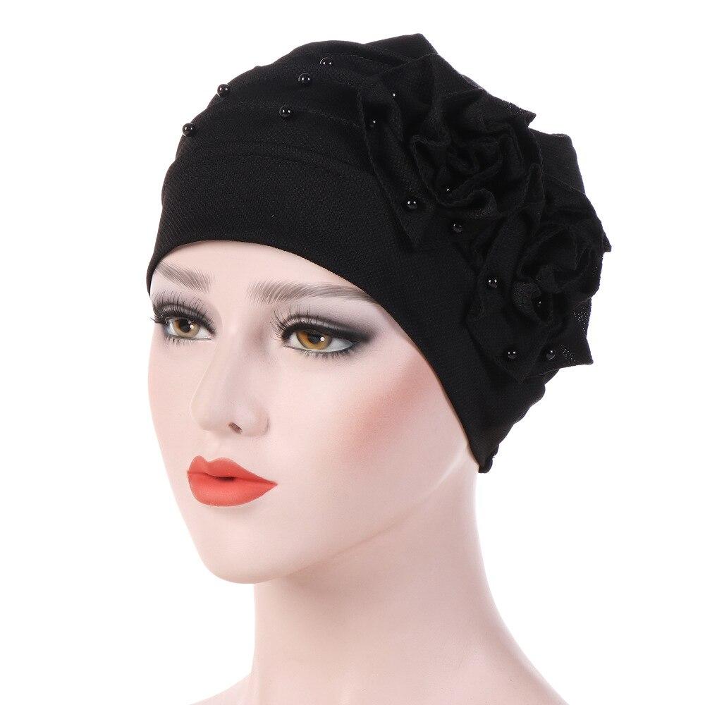 Fashion Pearls Beaded Flower Turban Women Bonnet Hair Loss Cap Muslim Hijab Headwear Hair accessories