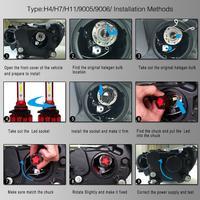 2pcs HB4 9006 Q6 12000LM 6000K 120W DOB LED Car Headlight Bulbs Kit Hi or Lo Light Bulb car accessories for Cars Vehicles