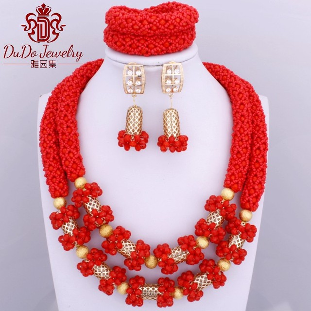 2017 Newest Dubai Red Jewelry Set African Nigerian Set of Beads Costume Jewelry Set Indian Wedding Necklace Set Free Shipping
