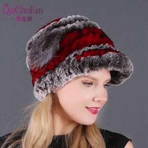 Image 5 - New Women Striped&Floral Real Natural Rex Rabbit Fur Hats 100% Genuine Rex Rabbit Fur Cap Lady Winter Warm Rex Rabbit Fur Caps