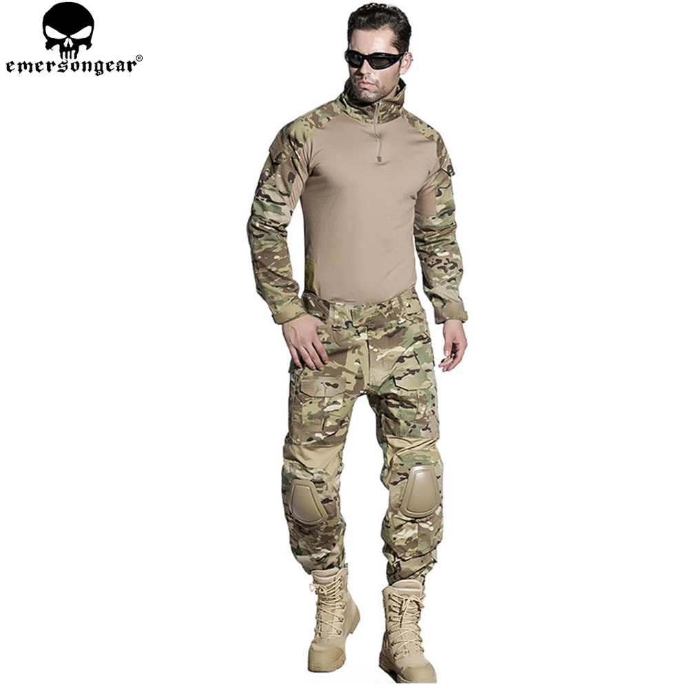 Emersongear Airsoft Roupas De Treinamento Combate Camisa Calças Com Cotovelo Joelheiras Multicam Camuflagem Terno Caça Uniforme Em2725
