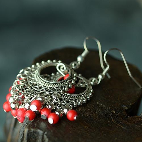Star Handmade Vintage Chinese Wind Tibetan Silver Dangle Earrings New Original Ethnic Jewelry Simple Beaded In Drop From