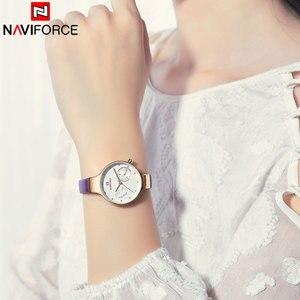 Image 4 - NAVIFORCE Frauen Uhren Top Luxus Marke Damen Quarz Uhren Echtem Leder Armband Beiläufige Handgelenk Uhren Geschenk Für Mädchen