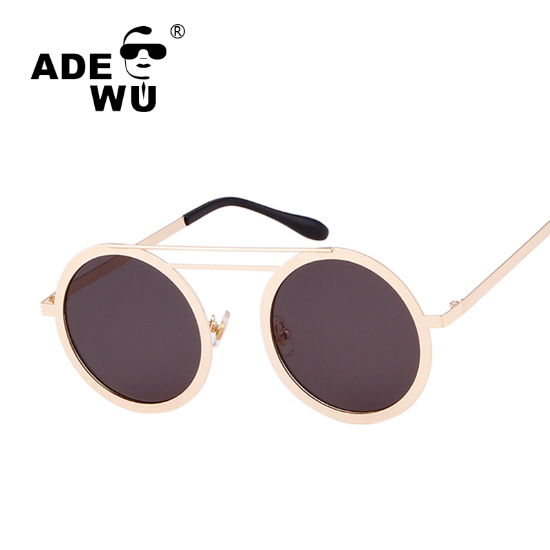 ADE WU Brand Designer Round Sunglasses Women Men Double Bridge Glasses Frame Fashion Mens Vintage Sunglasses oculos steampunk