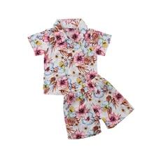 Toddler Baby Boys Floral Hawaiian Shirt and Shorts Set