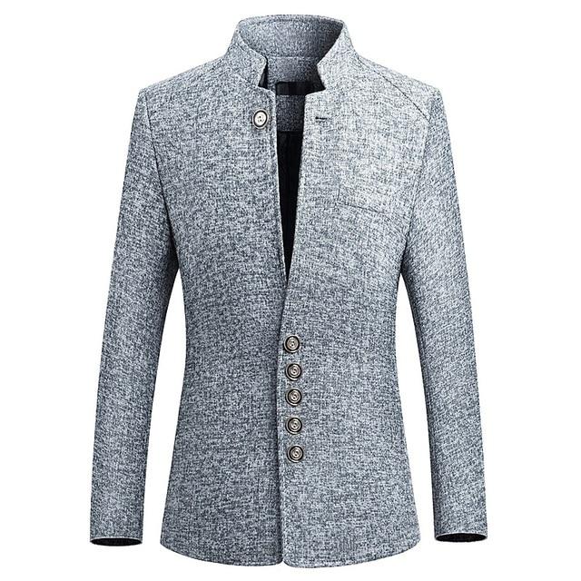 קריא בלייזר גברים 2019 אביב חדש סיני סגנון עסקי מזדמן צווארון עומד זכר בלייזר Slim Fit Mens בלייזר מעיל 4XL 5XL