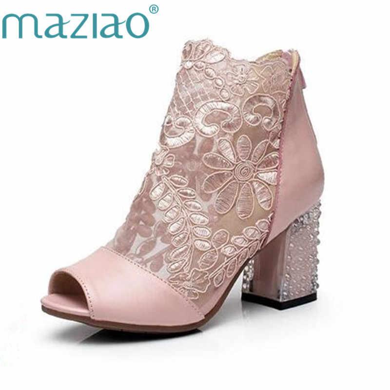 3170afaa MAZIAO/летние сандалии из натуральной кожи с открытым носком, женские  ботинки с вырезами и