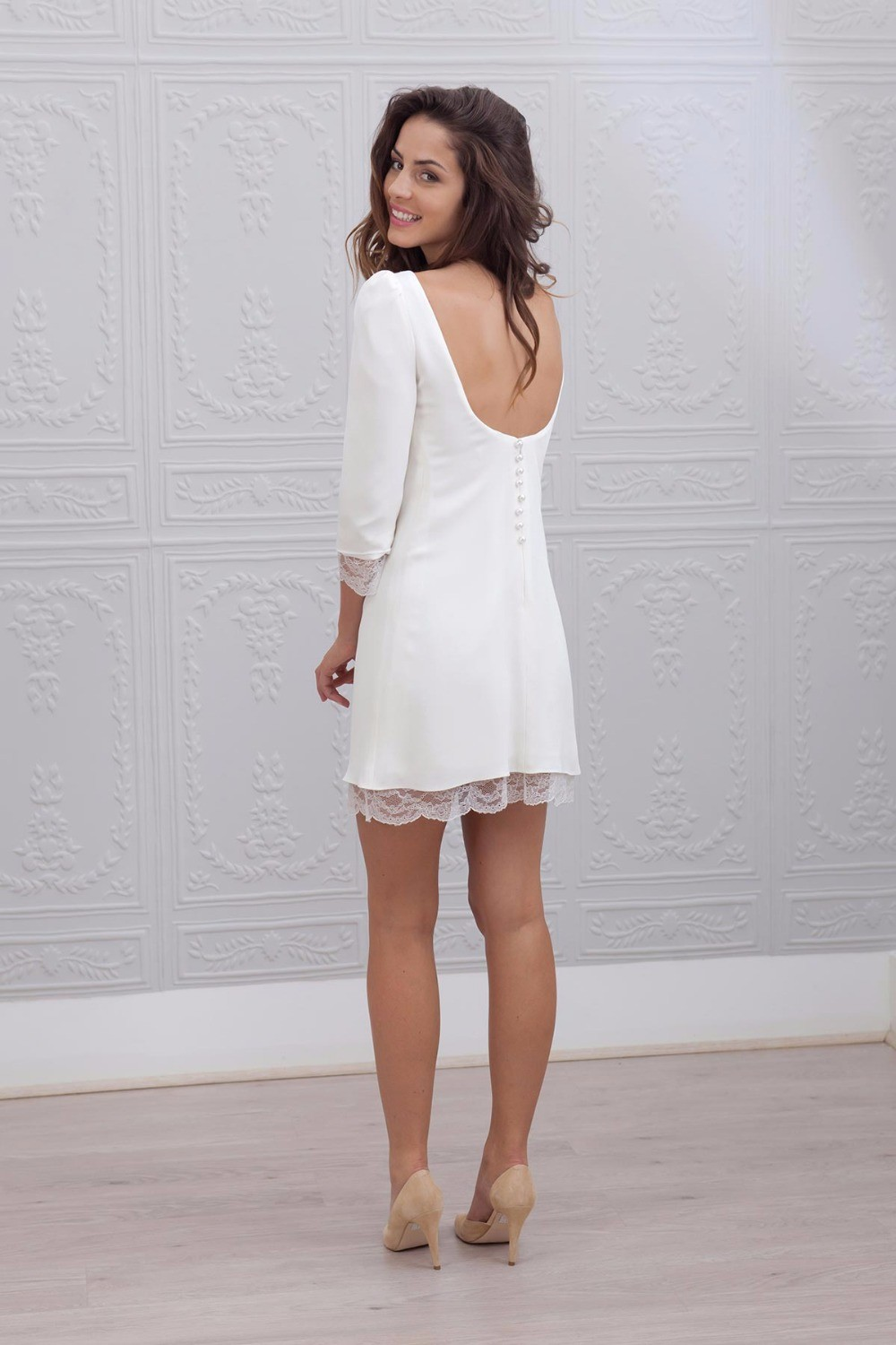 2016-New-Designer-Short-Mini-Sheath-Fitted-3-4-Sleeves-Lace-Satin-Informal-Beach-Wedding-Dresses (1)