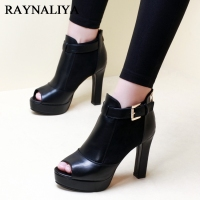 Classic Black Women Summer Ankle Boots Elegant Peep Toe Pumps Shoes Sexy Ladies Party Dress High Heel Platform Shoes CH A0020