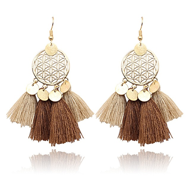 2018 Bohemia Ethnic Women Dangle Drop Earrings Summer Round sequin Tassel Earrin