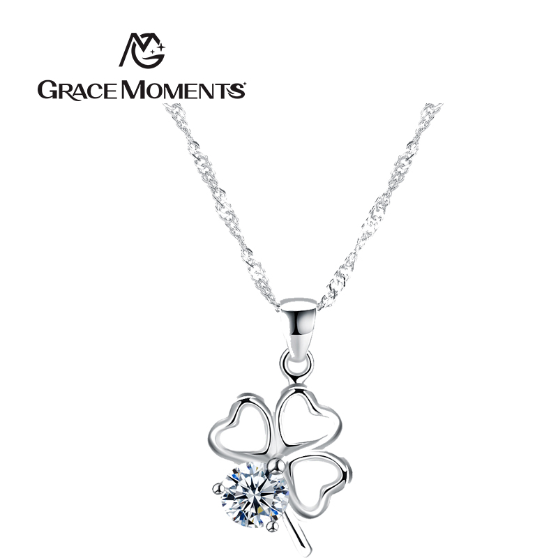 GRACE MOMENTS Authentic 925 Sterling Silver Novel Special Clover Pendant Necklaces for Women Sterling Silver Jewelry Gift