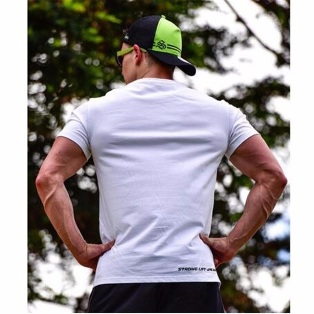 2017 Brand Men summer New T-shirts Fitness Bodybuilding T Shirt Slim fit Fashion Leisure Male Short Sleeve cotton clothing Tee T