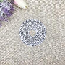 Julyarts 4Pcs Circle Metal Cutting Frame Dies for DIY Scrapbooking Stamp Background Die Paper Card Making Carft