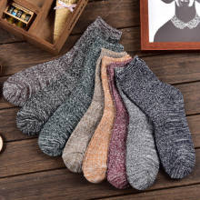 Unisex Frauen Mens Drucken Thermische Winter Warme Baumwolle Gestrickte Kurze Socken Strickwaren Wolle Häkeln Stretch Ankle Hohe Socken Sokken(China)
