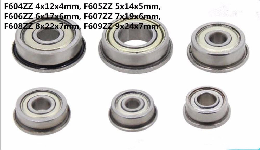 5pcs F604ZZ 4x12x4mm Flanged Shielded Bearing Miniature Ball Bearings