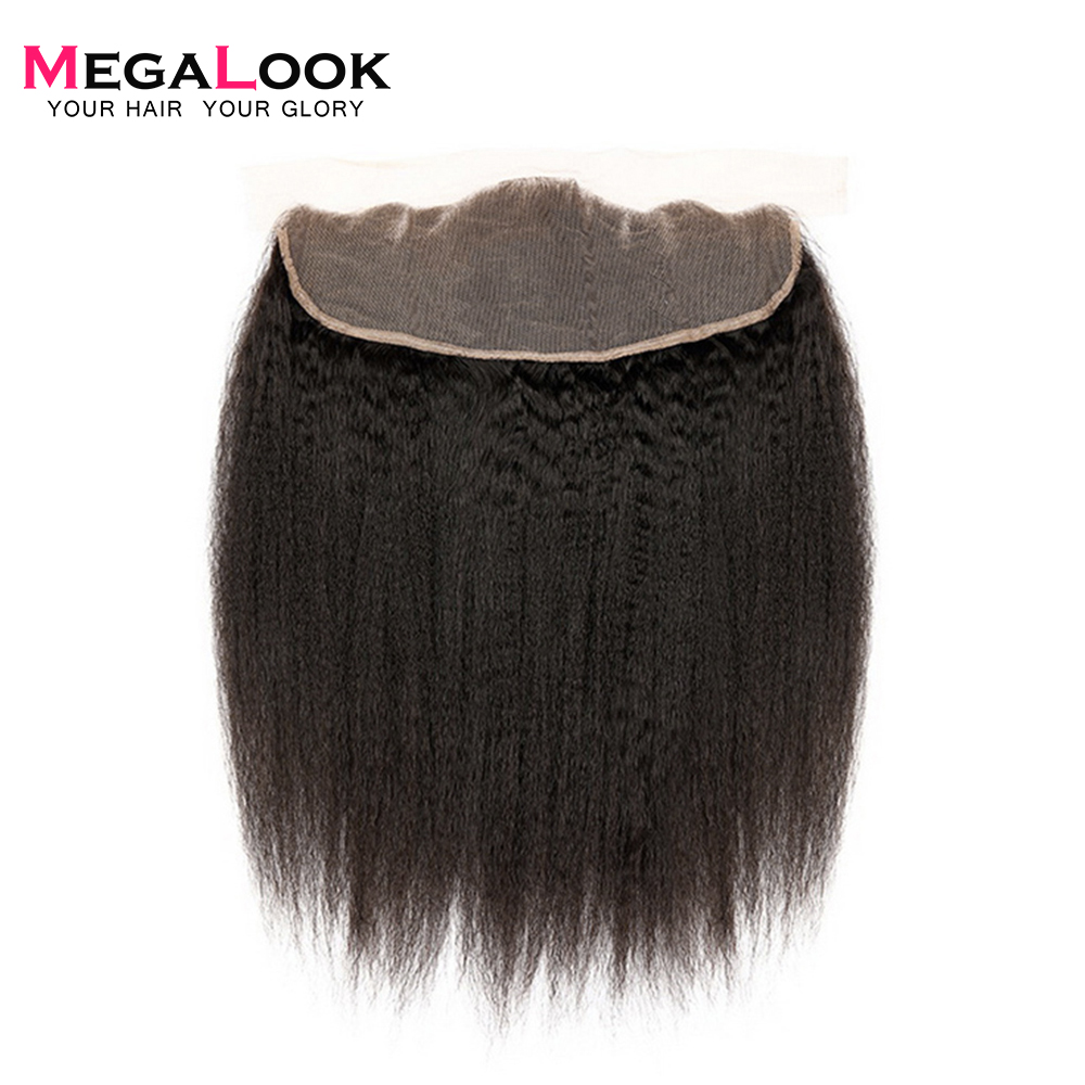 Megalook Yaki Hair Lace Frontal Peruvian Yaki Straight Remy Human Hair Frontal Natural Color Light Brown