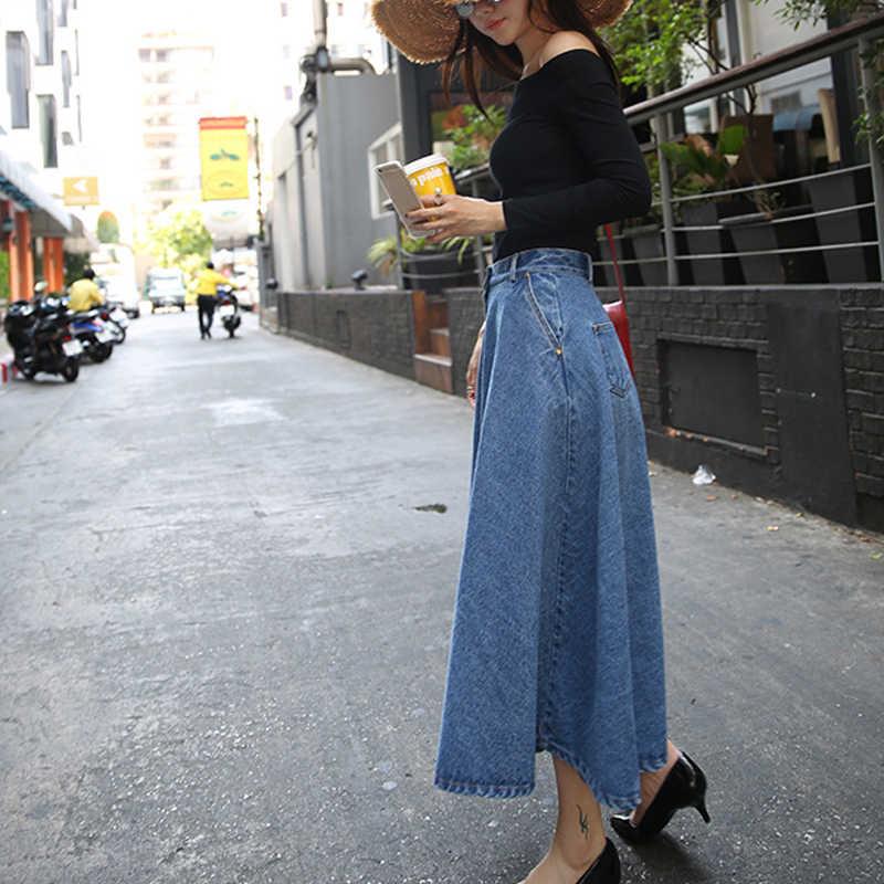 Zomer Hoge Taille Jean Rokken Voor Vrouwen Lange Denim Rok Knop Front Geplooide Denim Rokken Maxi Casual Solid Rok Denim broek