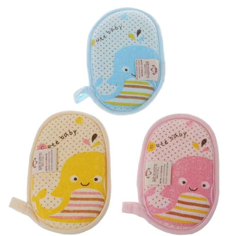 Newborn Baby Bath Towel Brush Kids Shower Foaming Bath Brush Soft Cotton Towel