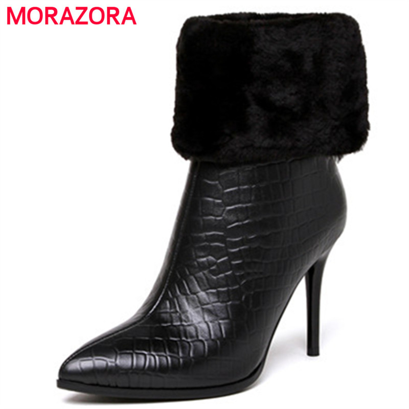 MORAZORA Thin heels shoes woman genuine leather boots for women pointed toe solid zip sexy lady ankle boots big size 34-43 memunia ankle boots for women high heels shoes woman pointed toe fashion boots female party flock solid big size 34 43
