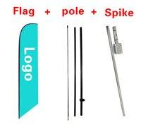 Nuevo metro publicidad logo 9' Plumas bandera swooper bandera kit W/polo + pico gr