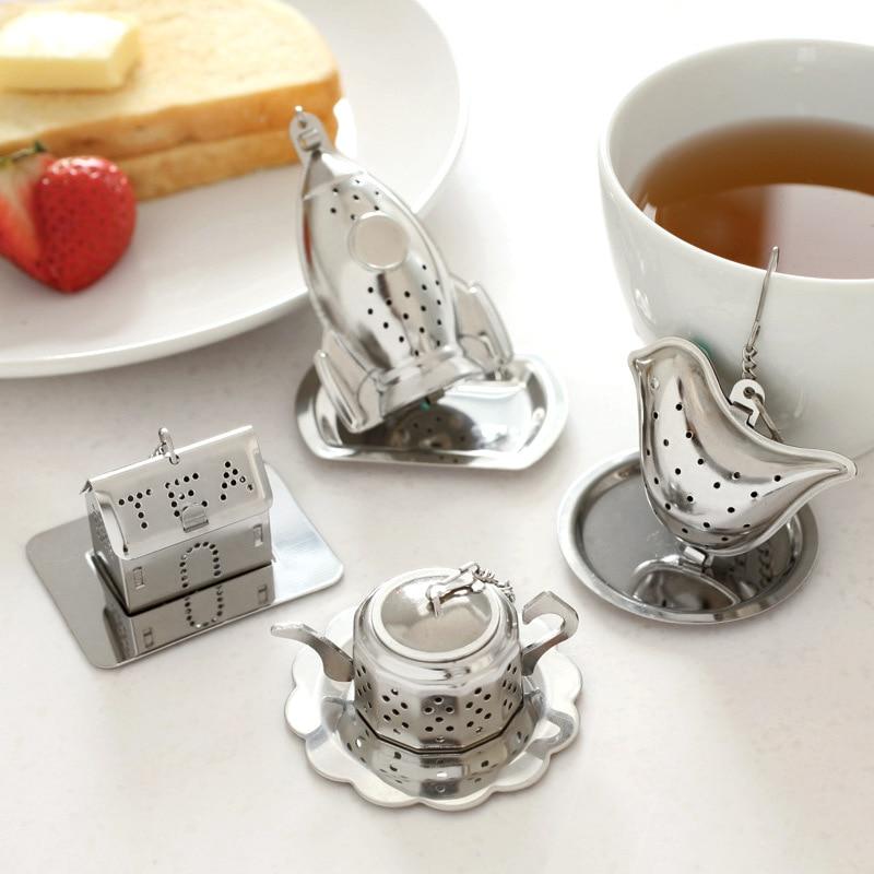 1pcs Stainless Steel Tea Infuser Loose Leaf Tea Strainer Herbal Spice Infuser Filter Rocket Teapot Bird House Shape Tea Tools B