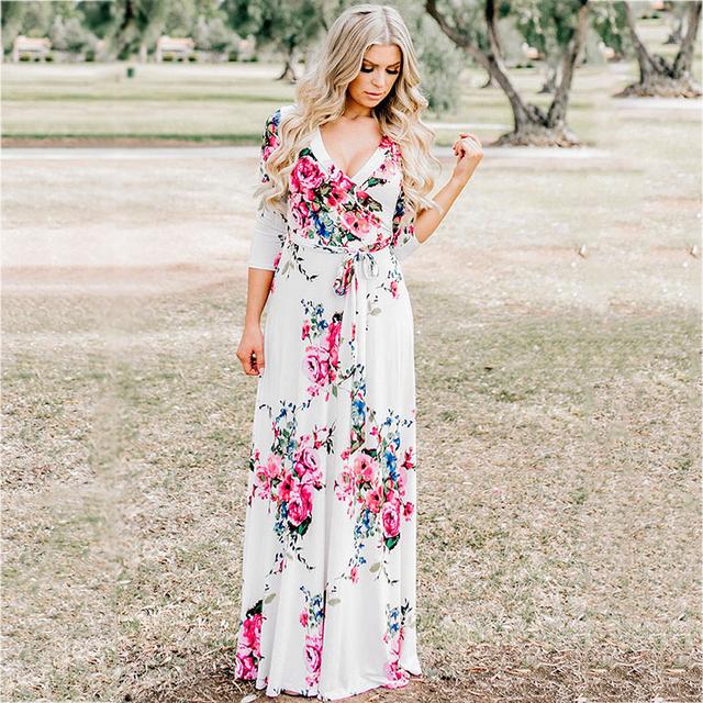 Summer Dress Sexy Deep V Neck Beach Casual Tunic Femme Vestidos Half Sleeve Boho Floral Printed Women Long Maxi Dresses