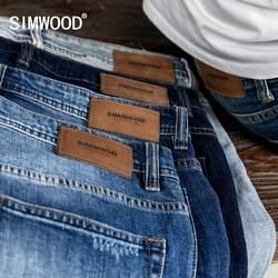 SIMWOOD мыть Slim Fit джинсы для женщин мужской классический винтаж высокое качество 2019 сезон: весна-лето новый повседневное уличная джинсовые