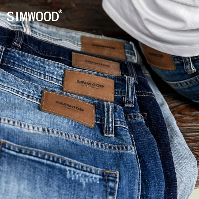 Simwood 洗浄スリムフィットジーンズの男性古典的なヴィンテージ高品質 2020 春春の新カジュアルストリートデニムズボン 190026