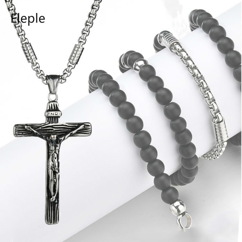 Eleple Retro Black Stainless Steel Necklaces for Men Christian Jesus Cross Pendant Jewelry Factory Wholesale (No Chain) S-N552