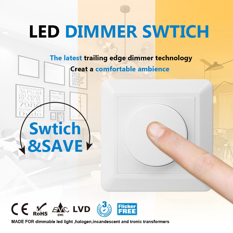 Dual-Dim Max Load 300W Trailing Edge Led Dimmer Switch Phase Bottom Brightness Adjustable With Knob