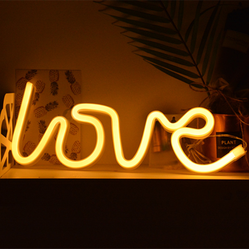 FENGLAIYI New USB Battery Neon Lamp Light Novelty LOVE/HEART/LIPS Shaped Table LED Night Light Home Festival Wedding Decor Lamp lnhf novelty diy led table lamp home romantic pour coffee usb battery night light