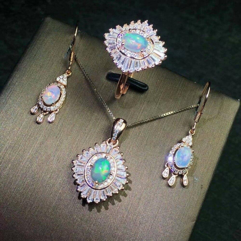 Shilovem 100% 925 argent sterling naturel opale pendentifs collier boucles d'oreilles anneaux classique fine bijoux usine en gros jc5746ago