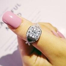 Anillo de compromiso de circonita AAA con corte de cojín lateral trenzado vintage de plata 925 sólida para mujer, joyería para Dedo de boda R1910