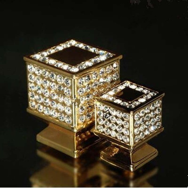 30mm fashion deluxe diamond furniture knob glass crystal drawer cabinet handle knob 24K gold shiny silver dresser cupboard pull