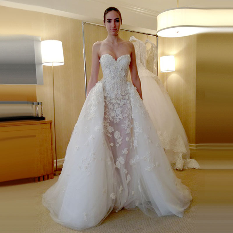 Sexy luxury see through mermaid detachable skirt wedding for Wedding dress detachable skirt