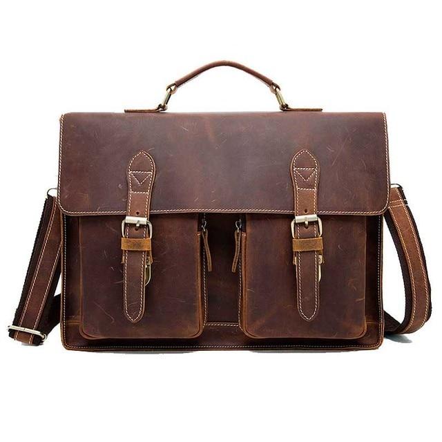 New Genuine Leather Business Briefcase Handbags Laptop Bags Vintage Men Crossbody Shoulder Tote
