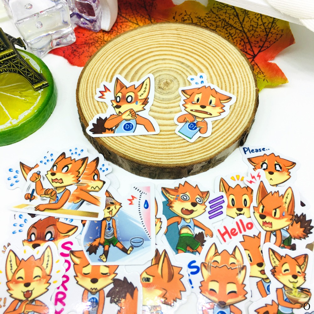 40 PCS Juvenile expression fox Sticker Anime Icon Stickers Gifts for Children to Laptop Suitcase Guitar Fridge Bicycle Car toy