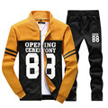 Hoody 2017 Autumn Hoodies for Men Letter Printed Men's Sportswear Suit Casual Fashion Hip Hop Sweatshirts Hoodie Pants Two Sets