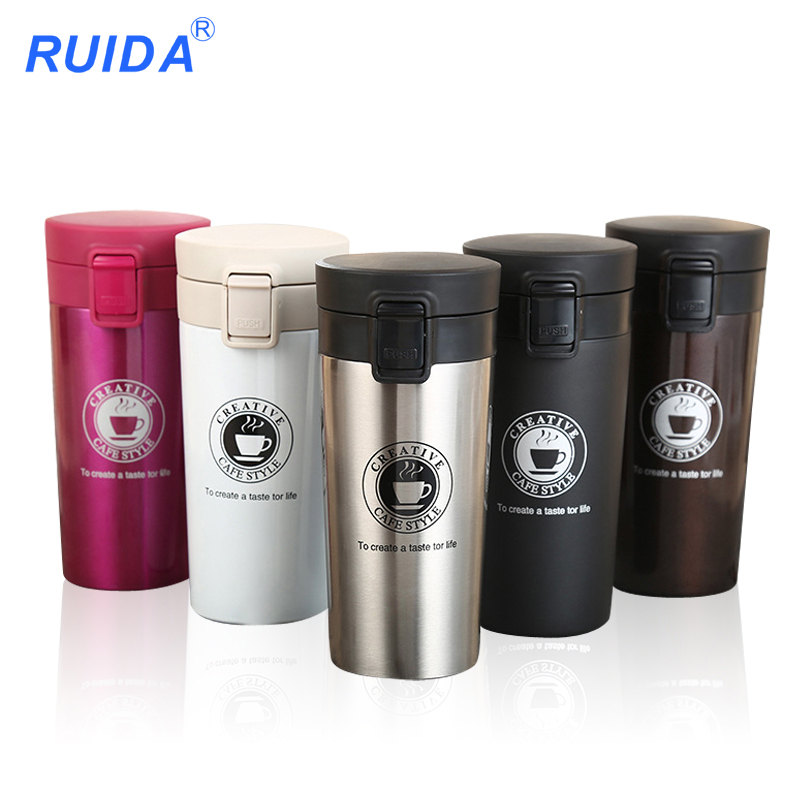 2018 new fashion coffee cup stainless steel cup car mounted <font><b>thermos</b></font> automobile cup Insulation Water Bottle Travel Mug Vacuum