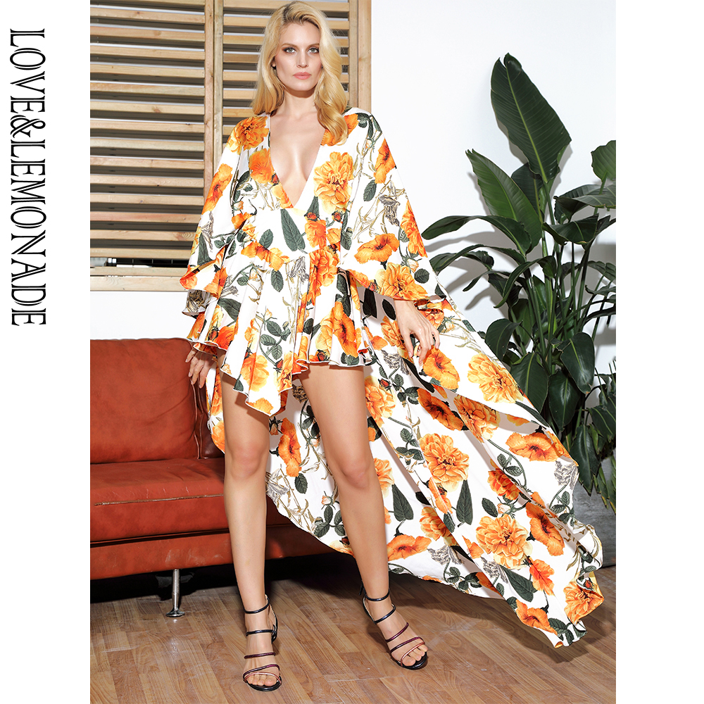 LOVE LEMONADE Sexy Deep V neck Cloak Ruffled Floral Print Playsuit LM81381 2