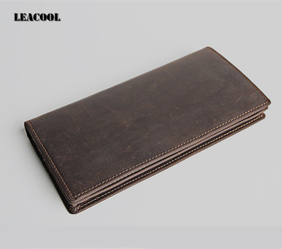 2018 Famous Brand Cell Phone Wallet Money Bag Card Holder Crazy Horse Vintage Genuine Leather Handmade Long Purse Men p kuone business men purse famous luxury brand coin credit card holder male travel long wallet passport cover leather money bag