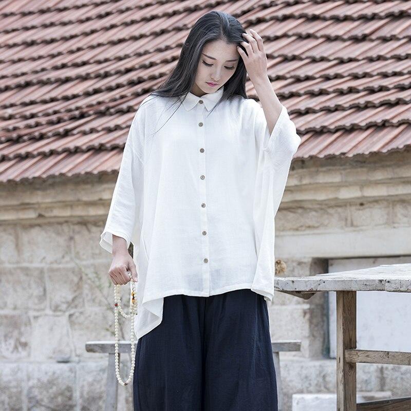 Solid White Cotton Linen Plus size Women Blouse Shirt Oversized Brand Design Loose Novelty Summer Shirt Blouse Beige Tops B118