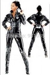KOSTENLOSER VERSAND Damen PVC Leder Kleid Mantel Catsuit Catwoman Bodysuit Catsuit