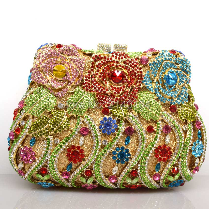 Women's Rhinestones Party Bags Gold Flower Clutches Light Red/green/blue/gold Crystals Party Bag Hard Case Shoulder Chain Q16 nokia 515 light gold