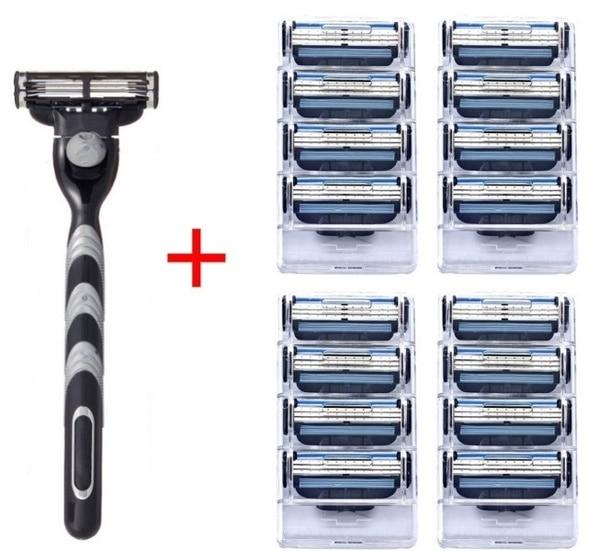 16 Uds. + 1 Uds. Soporte Compatible MACH 3 hoja de afeitar Manual de tres capas hoja de afeitar reemplazo Gillette