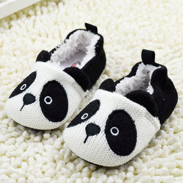 First Walker   Panda Pattern Baby Infant Toddler Shoes Soft Sole Fleece Winter Baby Shoes 0-18 Months