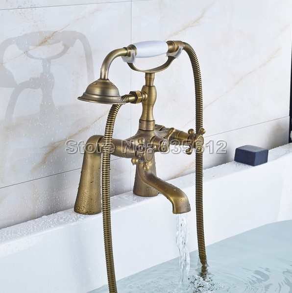 Bathroom Dual Cross Handle Bathtub Faucet Shower Set Antique Brass Finish with Ceramic Handheld Shower Heads j060Bathroom Dual Cross Handle Bathtub Faucet Shower Set Antique Brass Finish with Ceramic Handheld Shower Heads j060